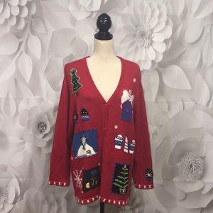 Quacker Factory Red Christmas Cardigan 1X